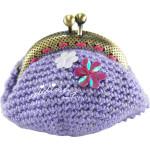 Bolsa em crochet, lilás com flores aplicadas