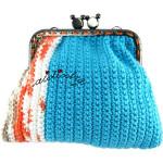 Bolsa, em crochet, azul turquesa e mesclado