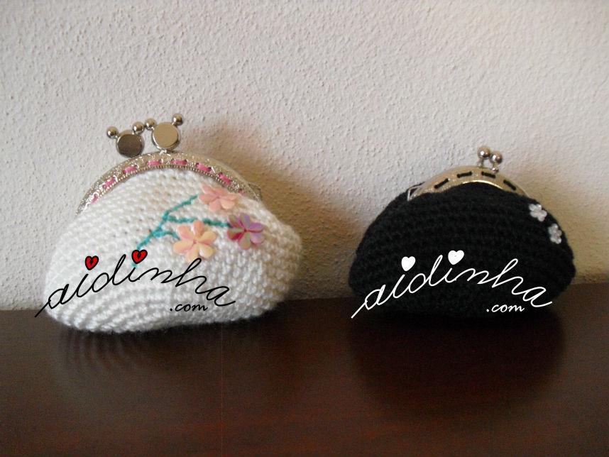 Bolsas redondas, em crochet, preta e branca