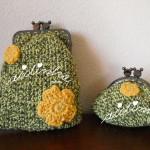 Conjunto de bolsas, em crochet, verde mesclado com flores amarelas
