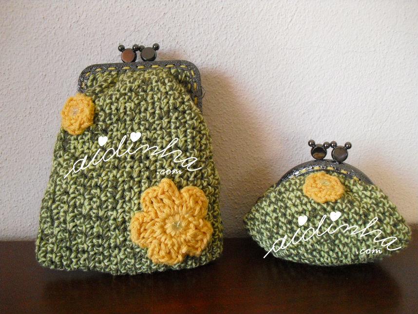 Conjunto de bolsas em crochet, verde mesclado com flores amarelas