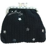 Bolsa em crochet, preta com estrelas prateadas