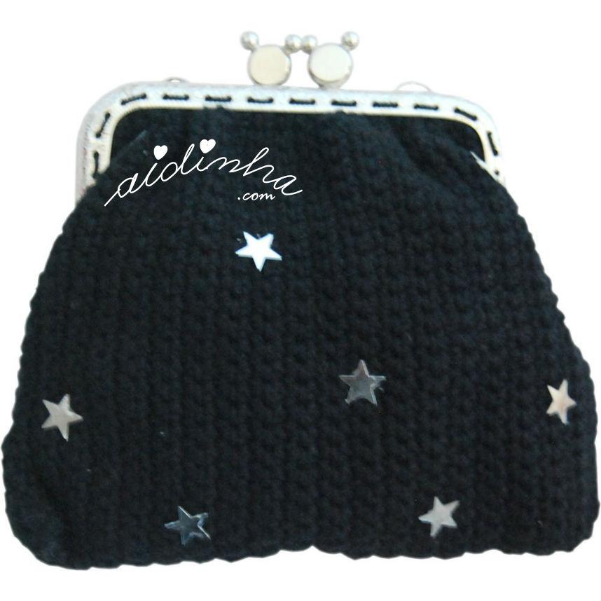 Bolsa em crochet, preta com estrelas