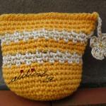 Bolsa, em crochet, amarela com riscas creme