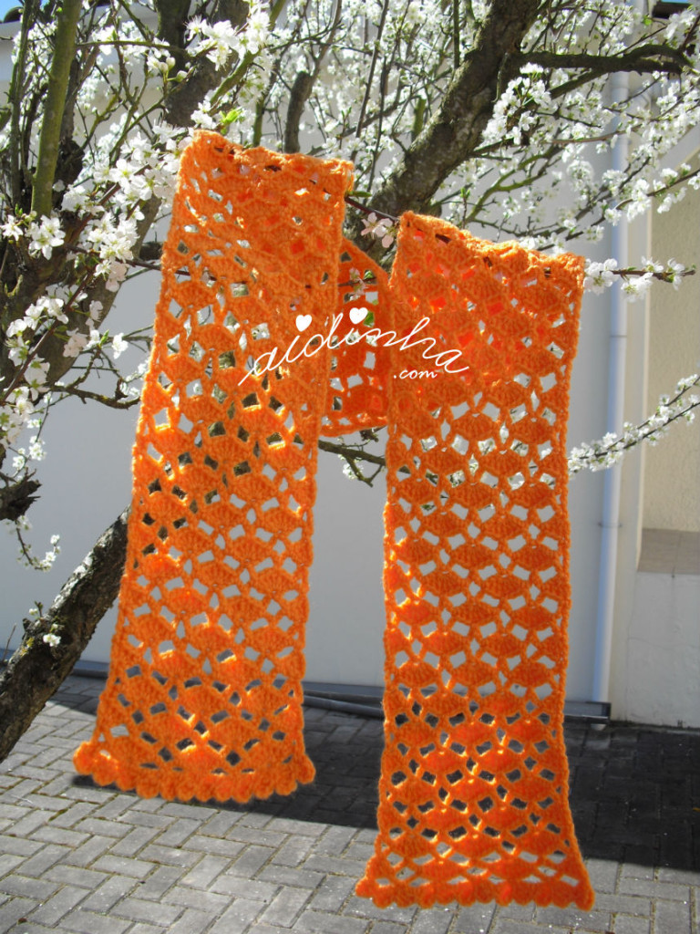 cachecol infantil, em crochet, laranja