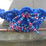 Cesto em crochet, de trapilho, redondo com aba