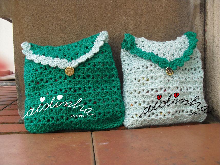 Bolsas em crochet, em dois tons de verde
