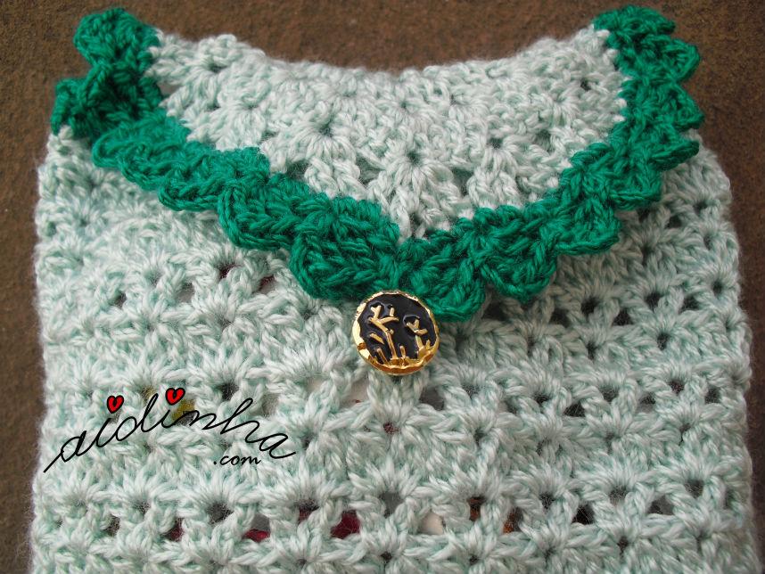 Picô verde escuro, da bolsa em crochet, verde clara