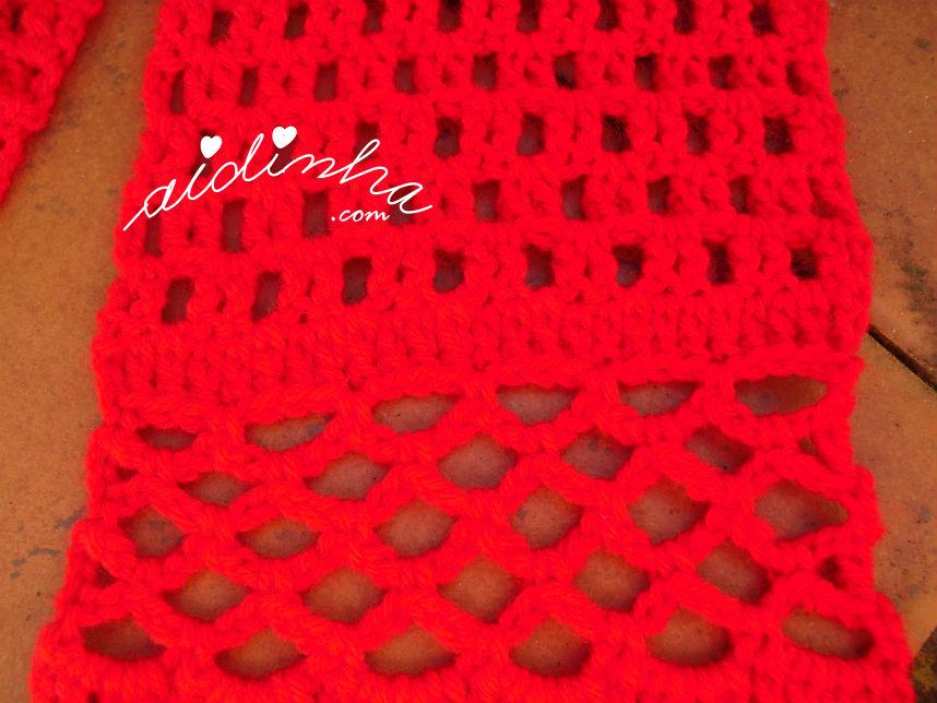 Mostragem dos dois pontos de crochet, utilizados na confeção do cachecol infantil