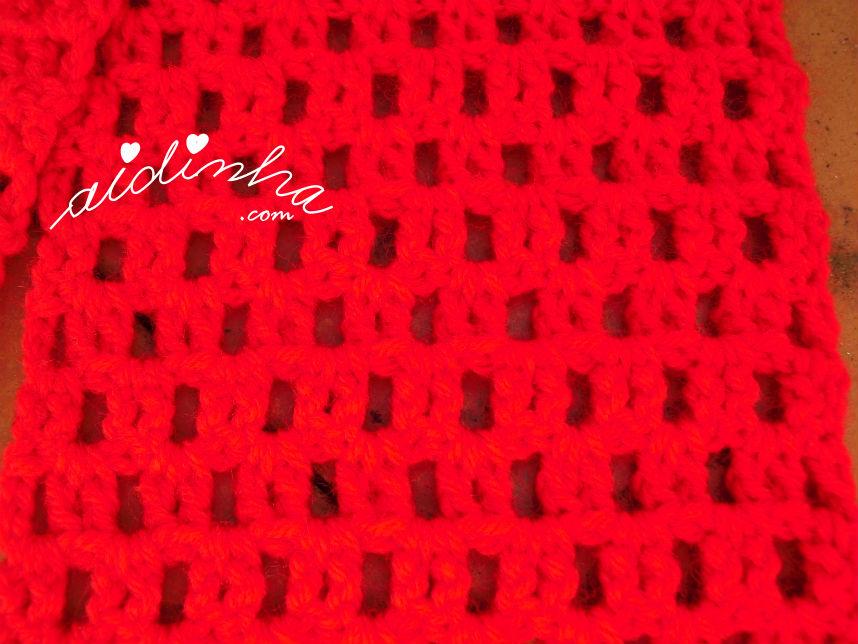 Foto do ponto de crochet utilizado no corpo do cachecol