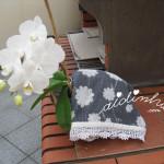 Pano cozinha/copa, com picô branco, de crochet