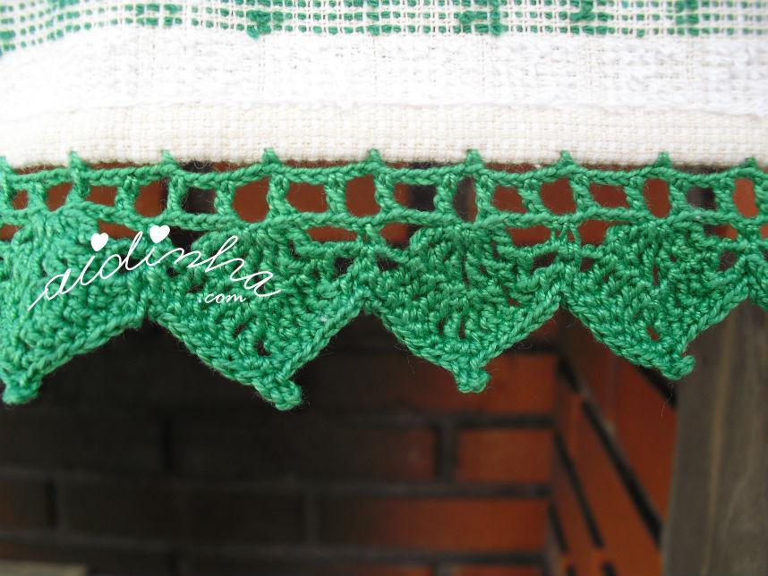 Pormenor do picô verde, em crochet do pano cozinha/copa