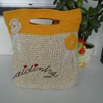 Bolsa, em crochet, creme e laranja com alças
