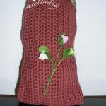 Bolsa, em crochet, na cor rosa velho