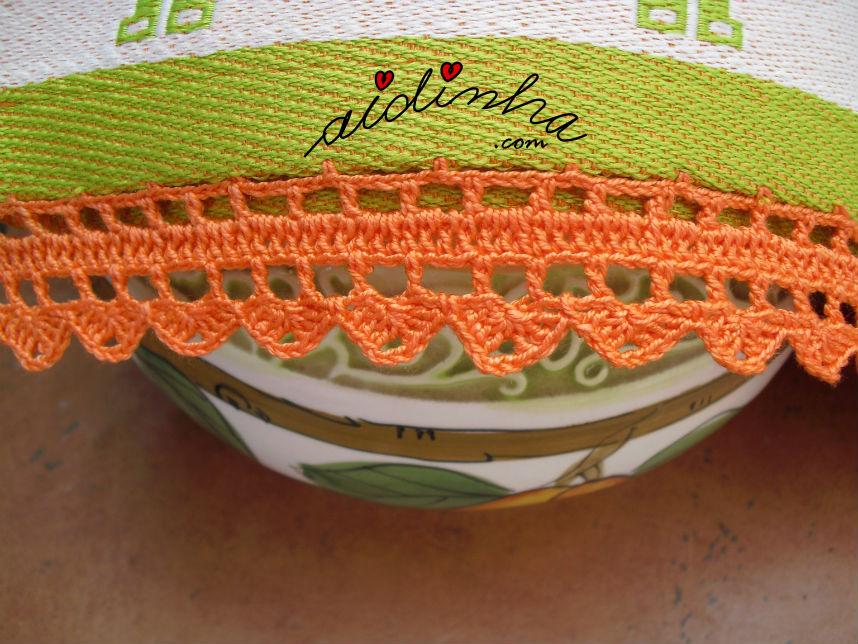 Pormenor do picô de crochet, laranja