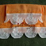 Conjunto toalhas banho, laranja, com renda de crochet amarela