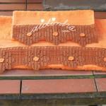 Conjunto toalhas banho, laranja, com renda de crochet castanha