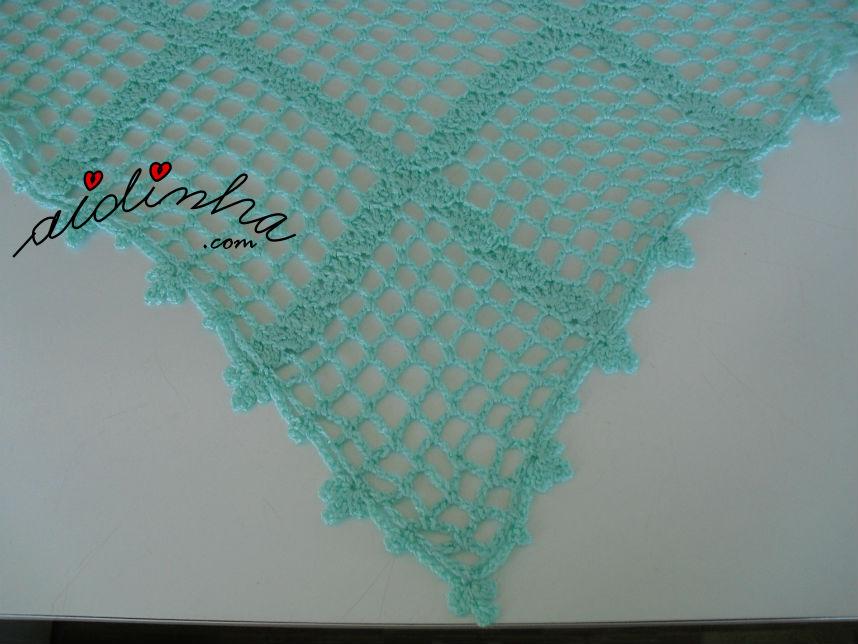 Vista da malha de crochet, do baktu verde água