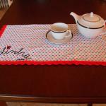 Pano cozinha/copa, com picô, de crochet, vermelho