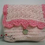 Bolsa, em crochet, rosa e prata