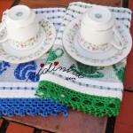 Panos de cozinha/copa com picô de crochet em azul e verde