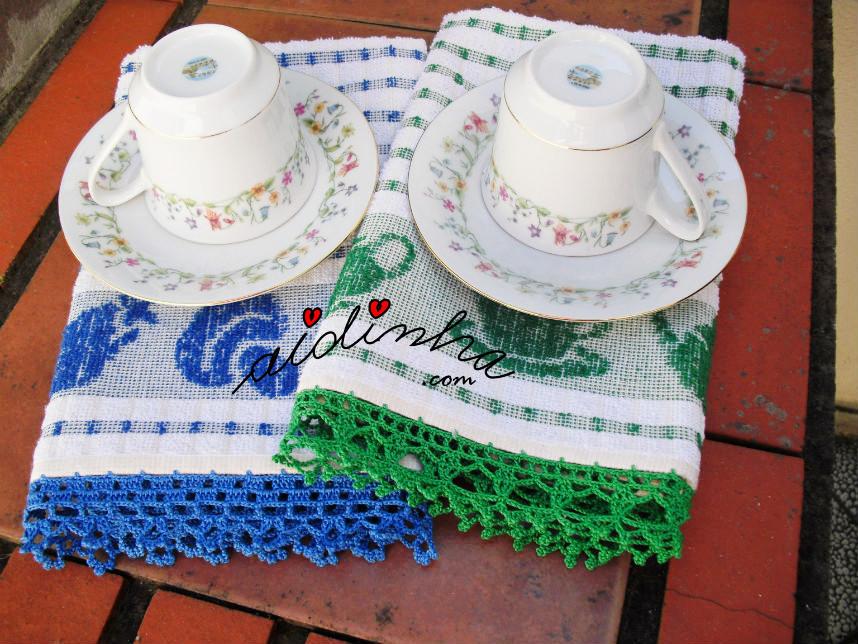 Panos cozinha/copa, com picô de crochet