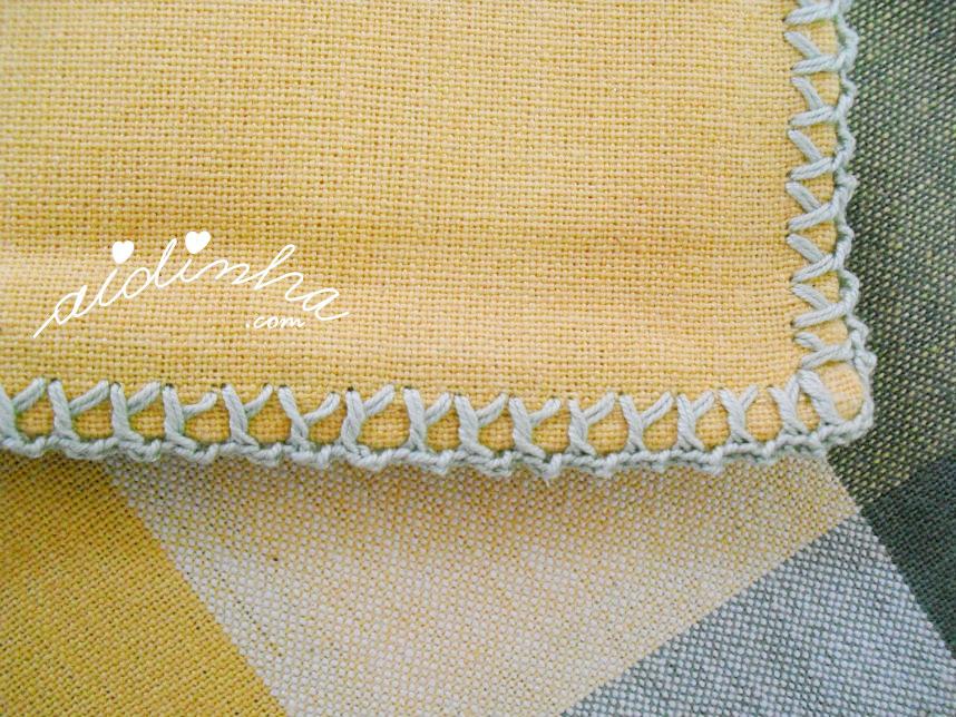 Pormenor do picô de crochet dos guardanapos
