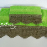 Conjunto toalhas banho verde com renda de crochet cinza chumbo