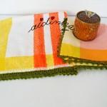 Conjunto de panos de cozinha, com picôs em crochet