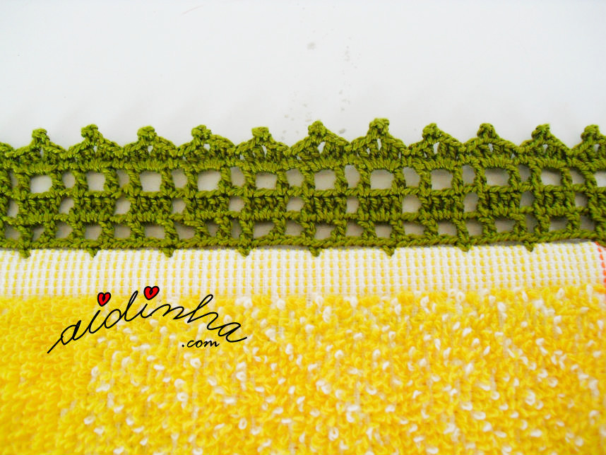 Vista de perto do picô de crochet do pano turco