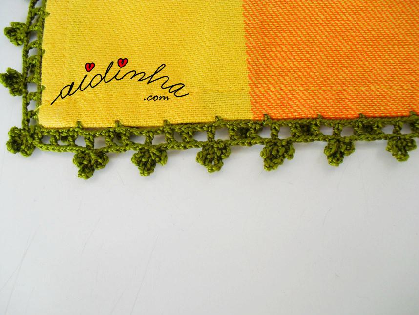 Vista do picô de crochet do pano de algodão