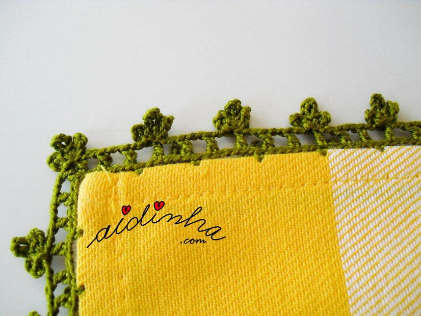 Vista de perto do picô de crochet do pano de algodão