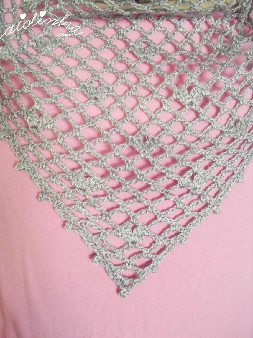 Vista geral do ponto de crochet, do baktu cinza