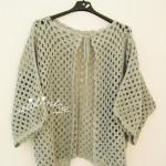 Casaco de crochet, na cor cinzento