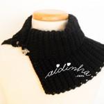 Gola preta, em crochet canelado