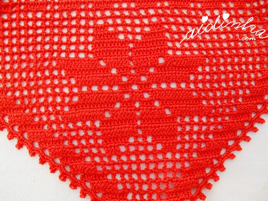 Vista de perto o motivo da estrela de crochet