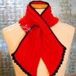 """Gola """"Graciosa"""" em crochet, vermelha e preto"""