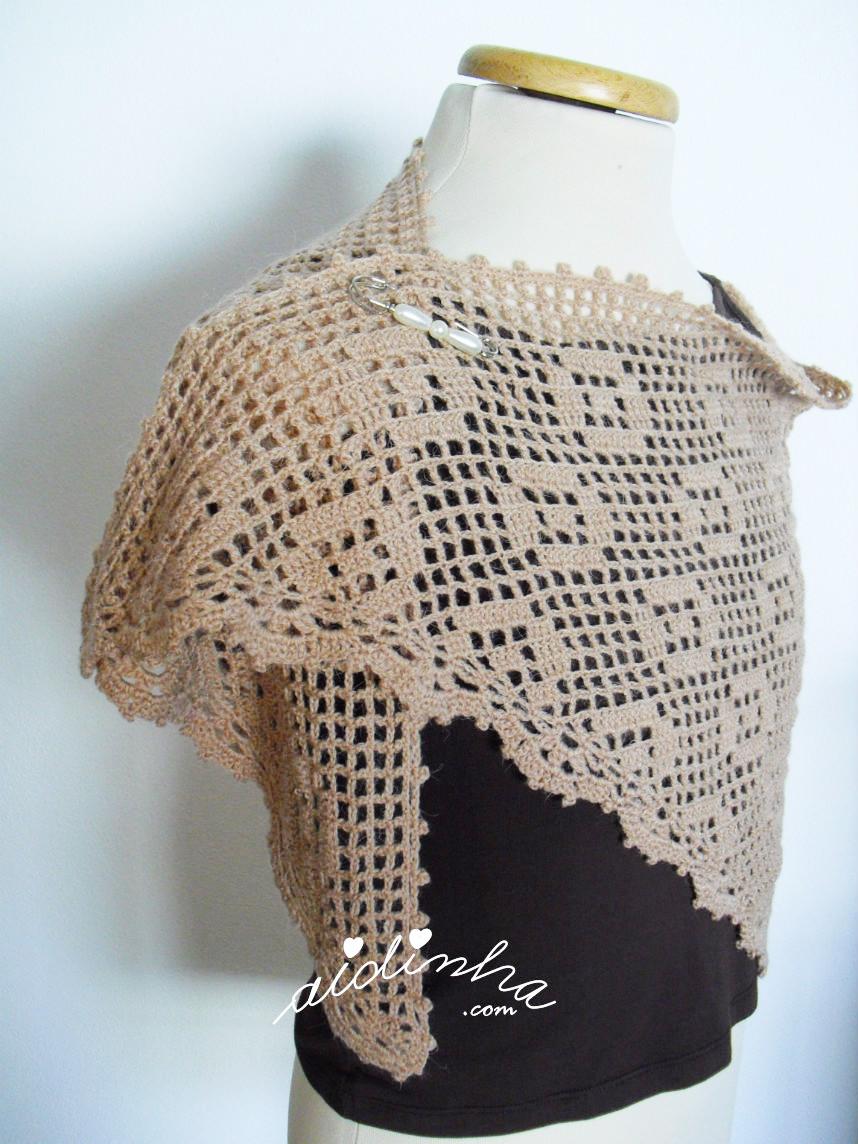 Outra vista do xaile de crochet