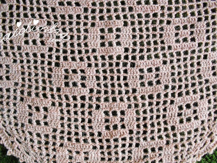 Foto das flores do xaile de crochet