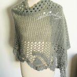 Estola de crochet, em lã, cinza escuro