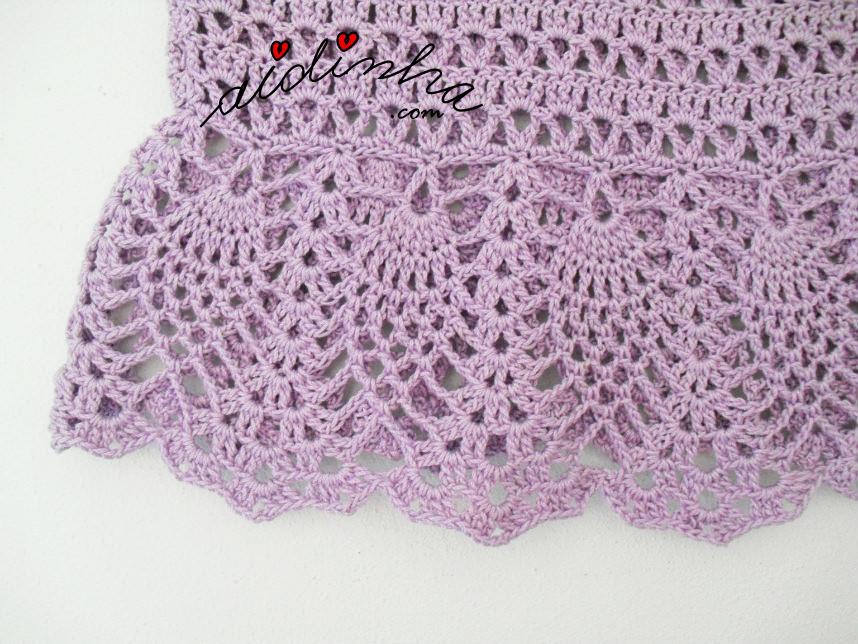 Foto do ponto de fantasia da saia do vestido infantil de crochet