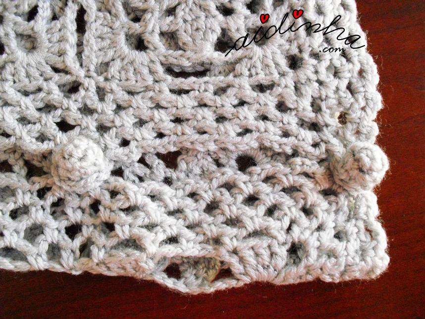 Foto dos botões do bolero de crochet