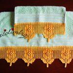 Conjunto de toalhas de banho verdes, com renda de crochet, em tom de mel