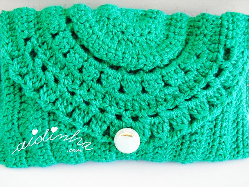 Foto da tampa da bolsa verde de crochet