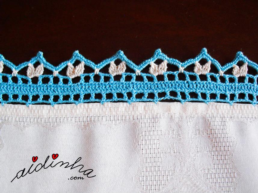 Foto do picô de crochet da toalha turquesa
