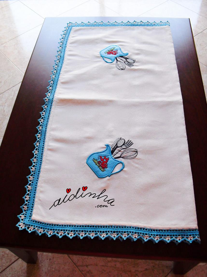 Vista geral da toalha de mesa