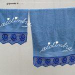 Conjunto de toalhas de banho, com renda de crochet, em azul
