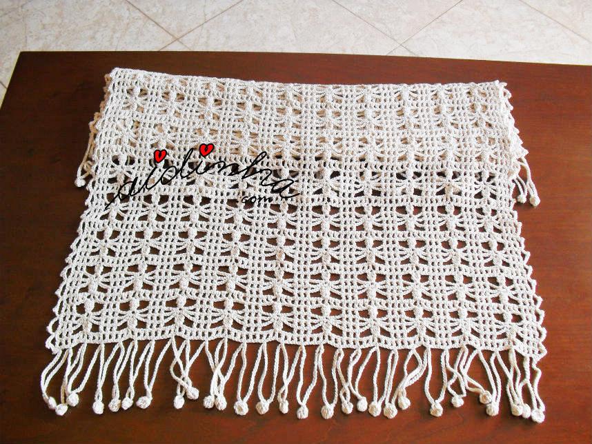 Foto da vista geral da estola de crochet