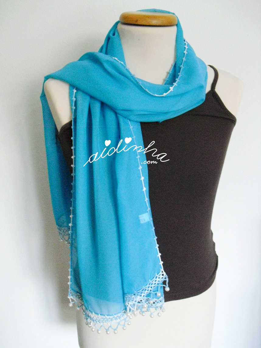 Outra foto da écharpe turquesa
