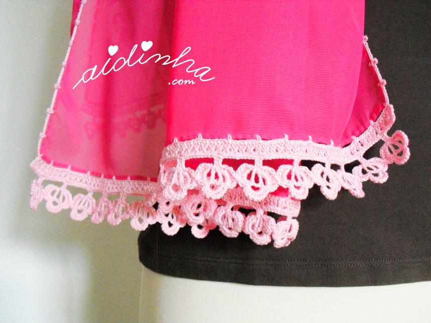 Foto do picô de crochet da écharpe rosa